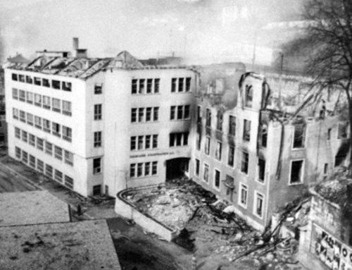 Schäden bei der Mühlenstrasse nach der Bombardierung am 1. April 1944